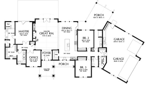 Craftsman Floor Plan - Main Floor Plan Plan #48-960