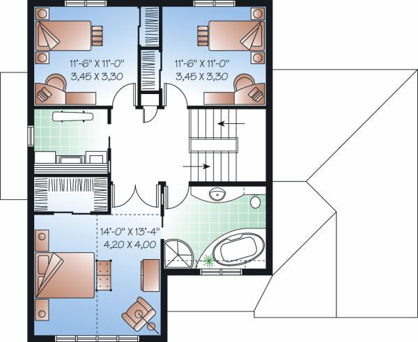 Traditional Floor Plan - Upper Floor Plan Plan #23-811