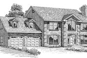 European Style House Plan - 3 Beds 2.5 Baths 2495 Sq/Ft Plan #47-296 Exterior - Front Elevation