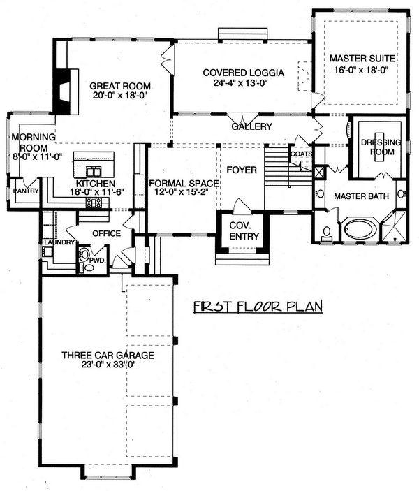 Craftsman Floor Plan - Main Floor Plan Plan #413-856