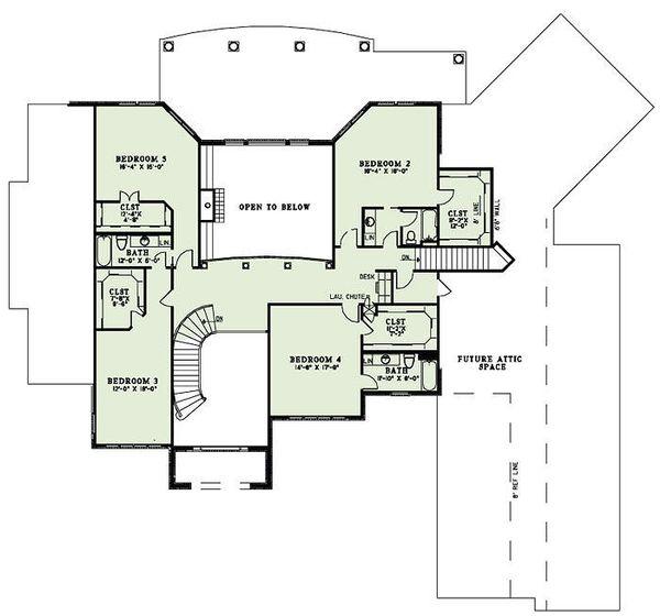 European Floor Plan - Upper Floor Plan Plan #17-2460
