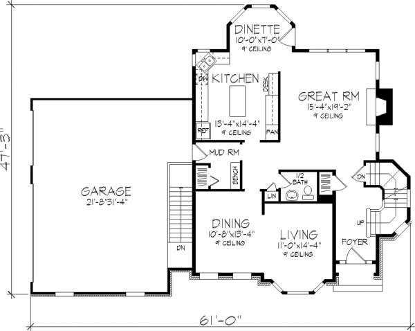 European Floor Plan - Main Floor Plan Plan #320-147