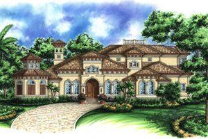 Mediterranean Exterior - Front Elevation Plan #27-391