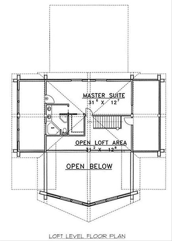 Log Floor Plan - Upper Floor Plan #117-503