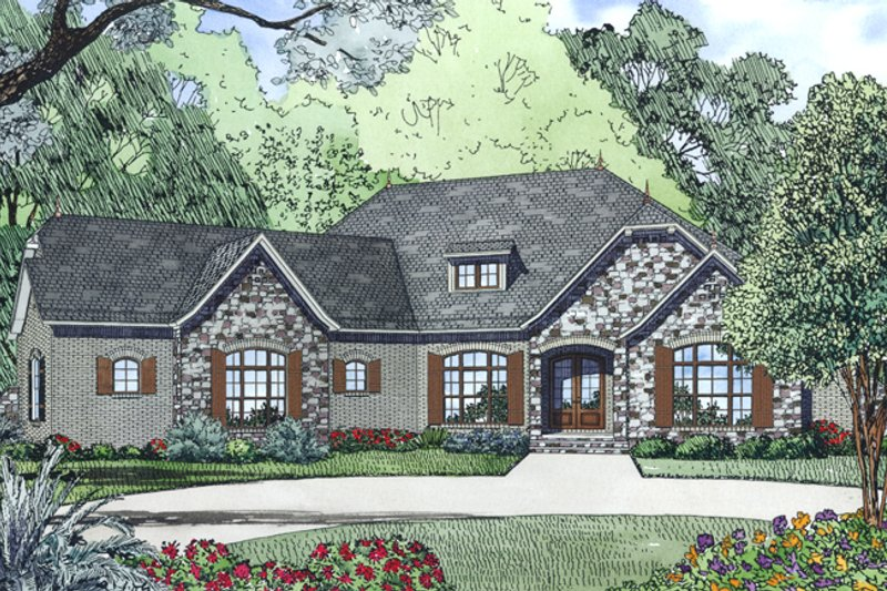 European Style House Plan - 4 Beds 2.5 Baths 2617 Sq/Ft Plan #17-2524 Exterior - Other Elevation