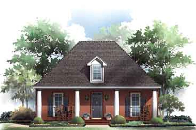 Southern Style House Plan - 3 Beds 2 Baths 1650 Sq/Ft Plan #21-157 Exterior - Front Elevation