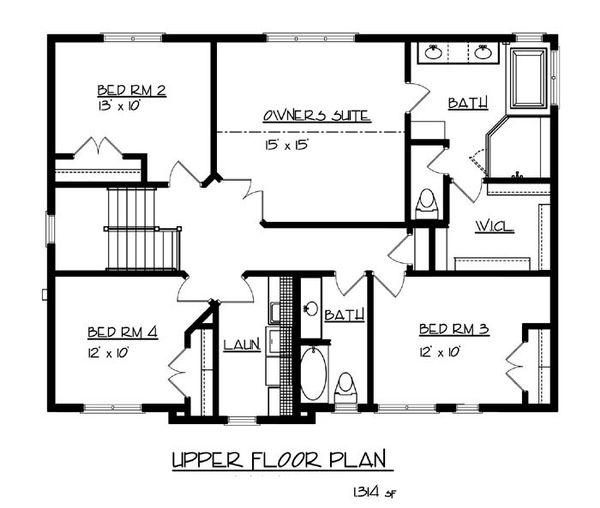 Craftsman Floor Plan - Upper Floor Plan Plan #320-490