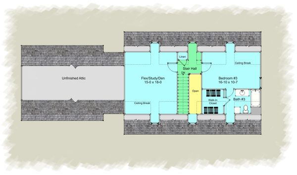 Architectural House Design - Colonial Floor Plan - Upper Floor Plan #489-8