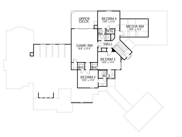 European Floor Plan - Upper Floor Plan Plan #80-161