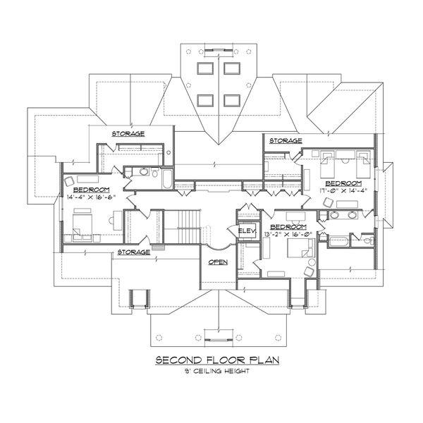 Classical Floor Plan - Upper Floor Plan #1054-81