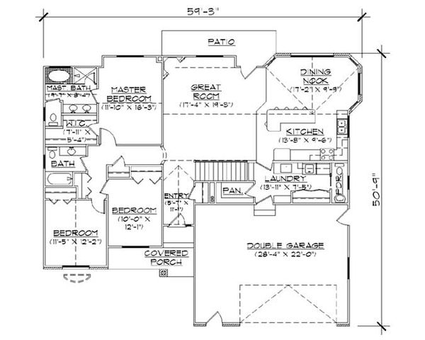House Plan Design - Ranch Floor Plan - Main Floor Plan #5-235