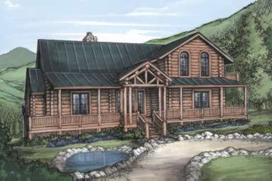 Log Exterior - Front Elevation Plan #115-157
