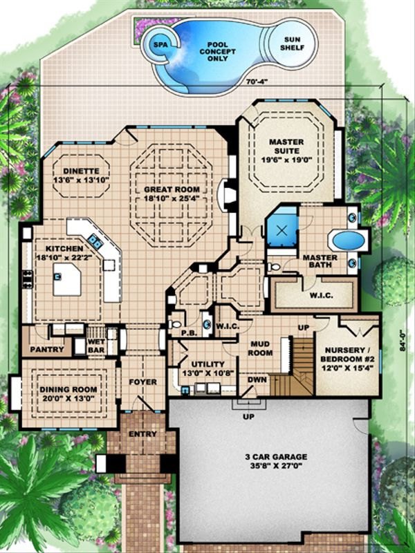 European Floor Plan - Main Floor Plan Plan #27-448