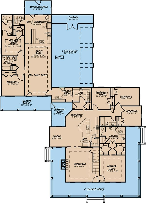 Architectural House Design - Farmhouse Floor Plan - Main Floor Plan #923-22
