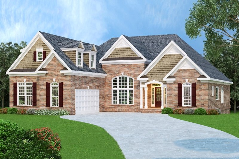 European Style House Plan - 3 Beds 2 Baths 2397 Sq/Ft Plan #419-166 Exterior - Front Elevation