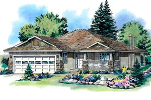 Ranch Exterior - Front Elevation Plan #18-1010