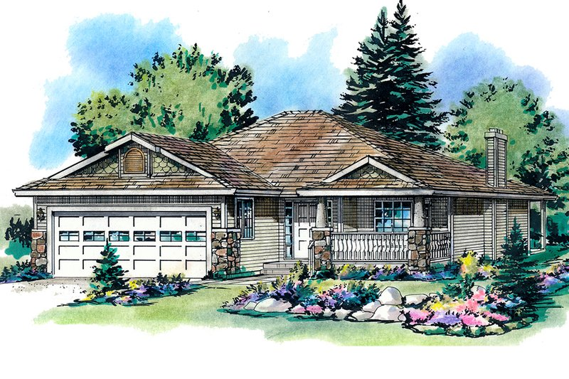 Ranch Exterior - Front Elevation Plan #18-1010 - Houseplans.com