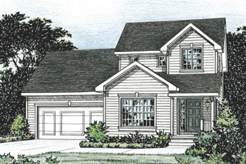 Traditional Style House Plan - 3 Beds 2.5 Baths 1423 Sq/Ft Plan #20-1247 Exterior - Front Elevation