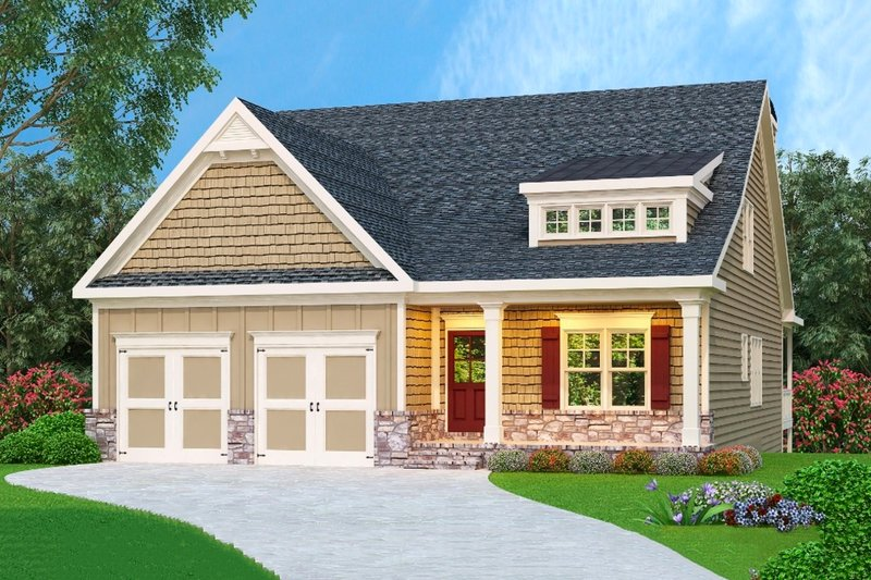 Cottage Exterior - Front Elevation Plan #419-216