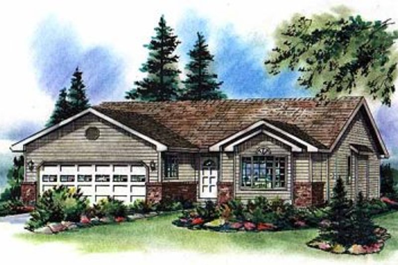Ranch Exterior - Front Elevation Plan #18-194