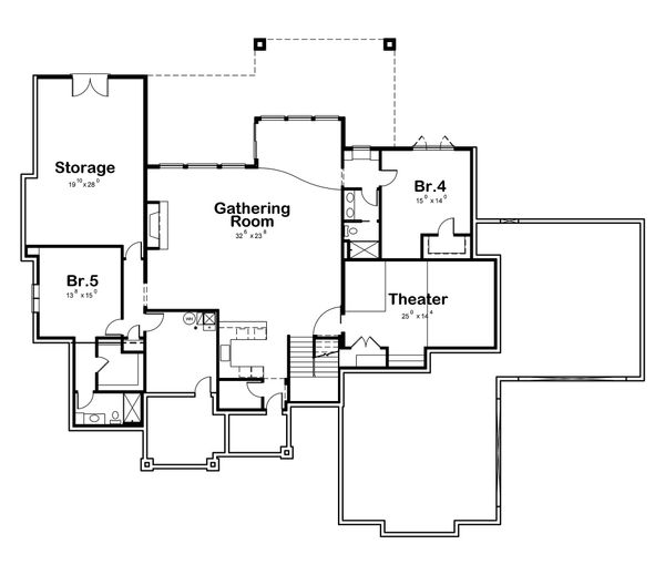 Craftsman Floor Plan - Lower Floor Plan Plan #20-2338