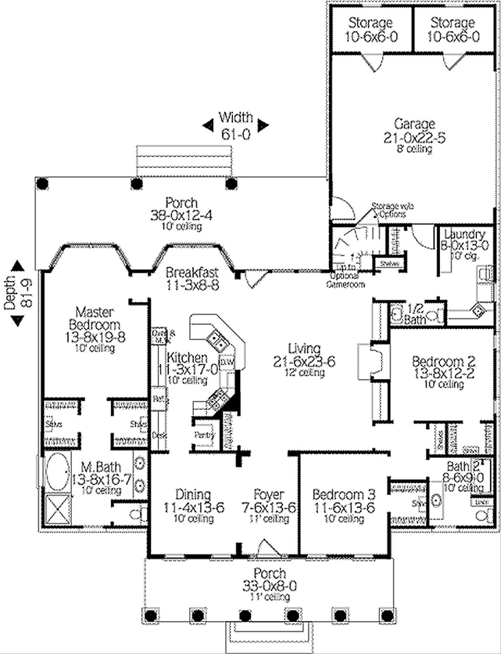 Southern style house plan 3 beds 2 5 baths 2379 sq ft for Southern style floor plans