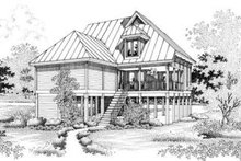 Beach Exterior - Rear Elevation Plan #45-197