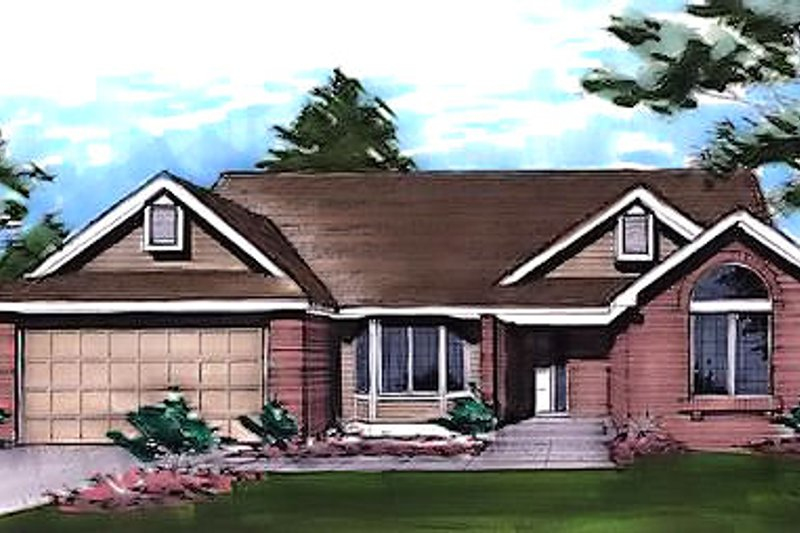 Traditional Style House Plan - 2 Beds 2 Baths 1726 Sq/Ft Plan #320-431 Exterior - Front Elevation