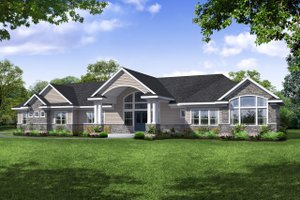 Ranch Exterior - Front Elevation Plan #124-1115