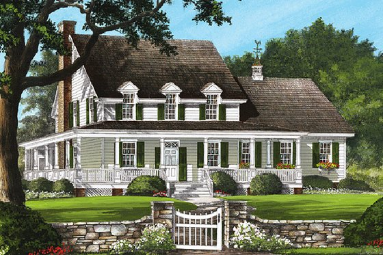 Country Exterior - Front Elevation Plan #137-199