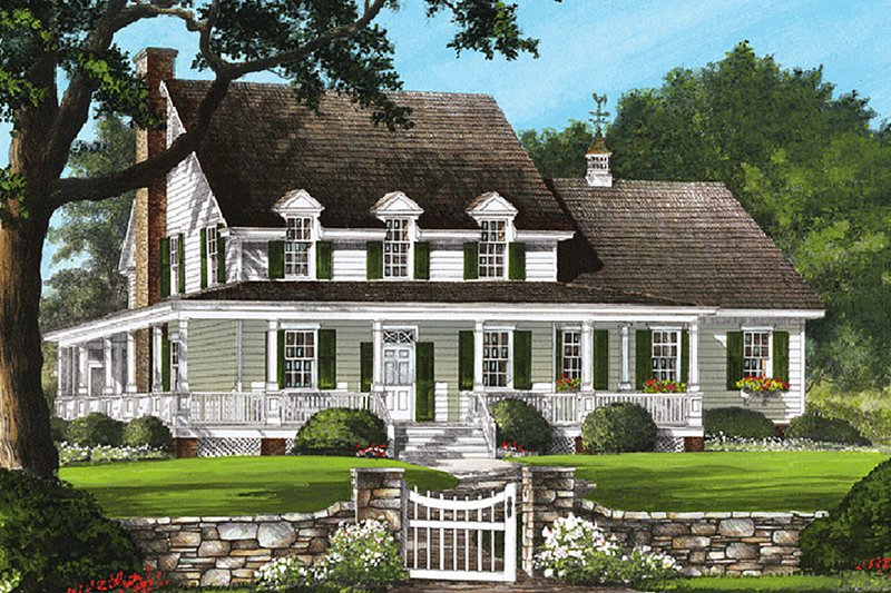 Country Style House Plan - 4 Beds 3.5 Baths 2842 Sq/Ft Plan #137-199 Exterior - Front Elevation