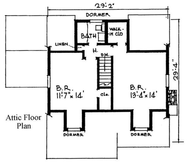Country Floor Plan - Upper Floor Plan Plan #315-102