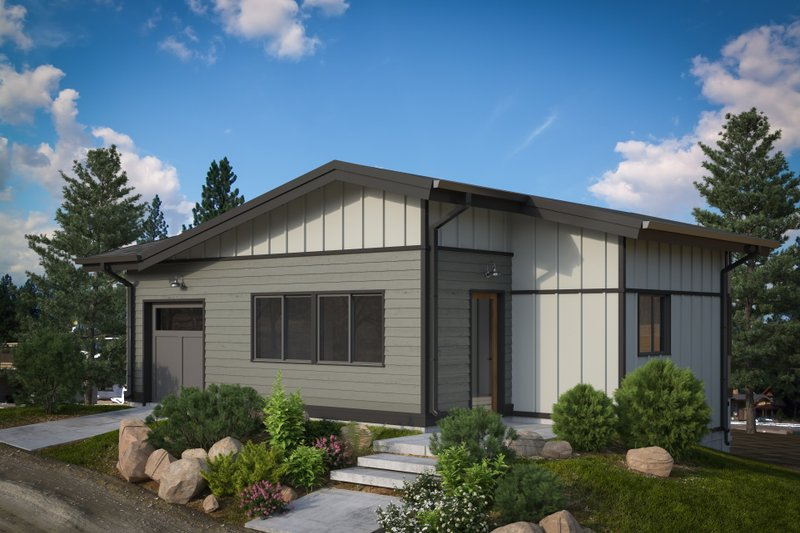 Modern Style House Plan - 2 Beds 2 Baths 885 Sq/Ft Plan #895-114 Exterior - Front Elevation