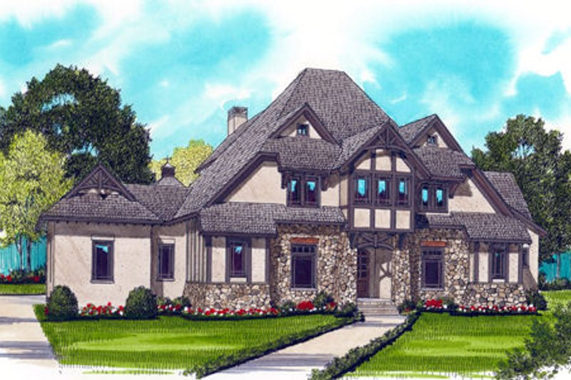 European Style House Plan - 4 Beds 3.5 Baths 4334 Sq/Ft Plan #413-828 Exterior - Front Elevation