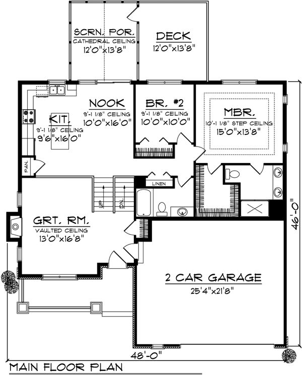 Ranch Floor Plan - Main Floor Plan Plan #70-1034