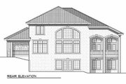 European Style House Plan - 4 Beds 3.5 Baths 3687 Sq/Ft Plan #70-925 Exterior - Rear Elevation