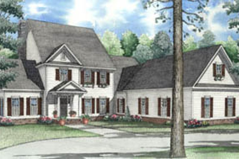 Architectural House Design - Colonial Exterior - Front Elevation Plan #17-2074