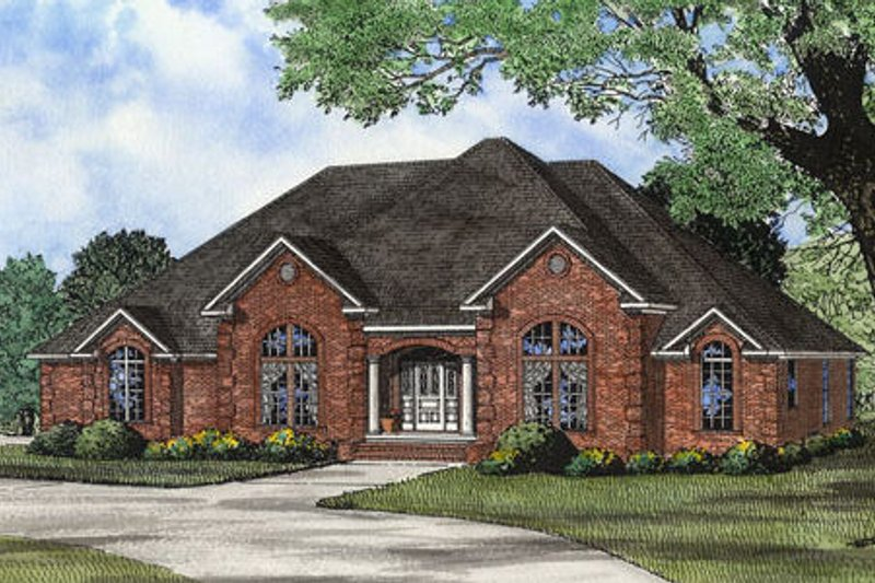 European Style House Plan - 4 Beds 2.5 Baths 2833 Sq/Ft Plan #17-2308 Exterior - Front Elevation