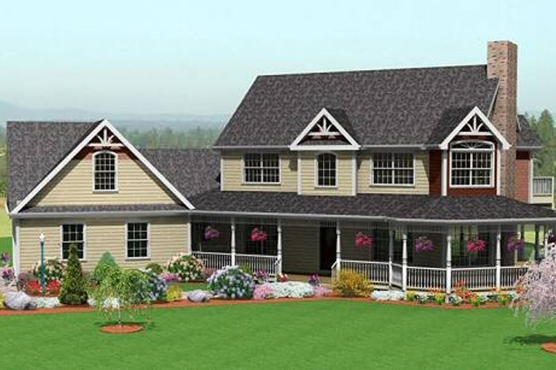 Country Style House Plan - 3 Beds 2.5 Baths 2214 Sq/Ft Plan #75-185 Exterior - Front Elevation
