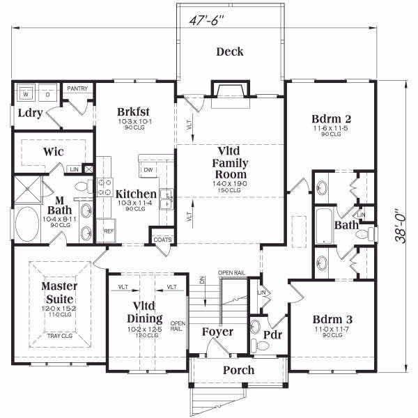 Home Plan - Colonial Floor Plan - Main Floor Plan #419-120