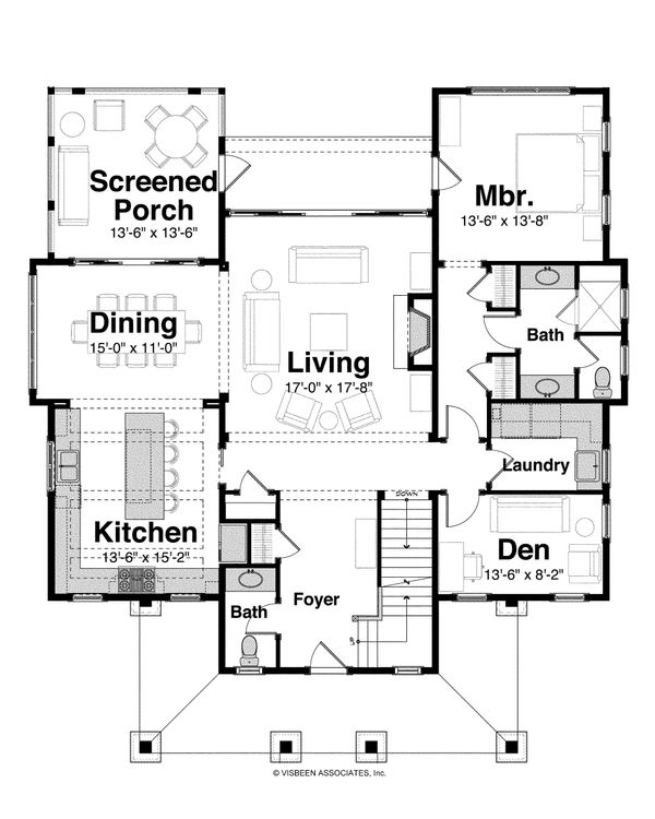 Architectural House Design - Country Floor Plan - Main Floor Plan #928-4