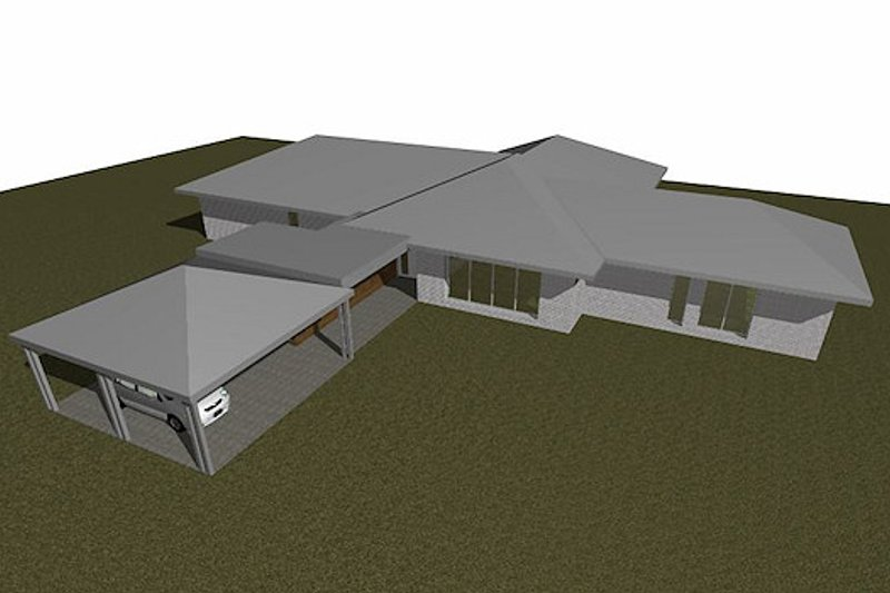 Ranch Style House Plan - 3 Beds 2 Baths 3391 Sq/Ft Plan #496-6 Exterior - Front Elevation