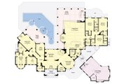 European Style House Plan - 4 Beds 4.5 Baths 6299 Sq/Ft Plan #930-510 Floor Plan - Main Floor Plan