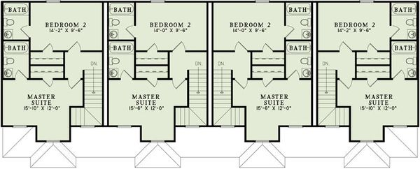 Traditional Floor Plan - Upper Floor Plan Plan #17-2457