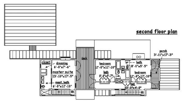 Beach Floor Plan - Upper Floor Plan Plan #433-1