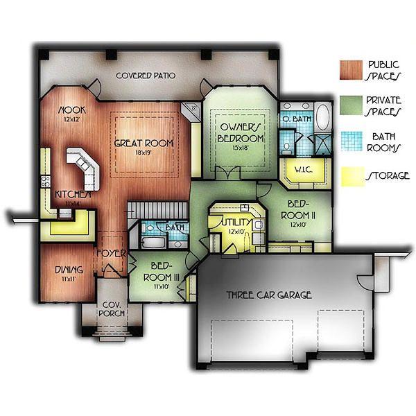 Adobe / Southwestern Floor Plan - Main Floor Plan Plan #24-247