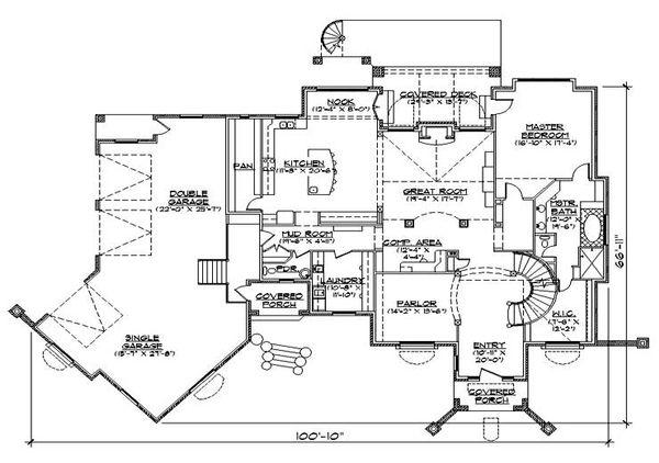 European Floor Plan - Main Floor Plan Plan #5-442