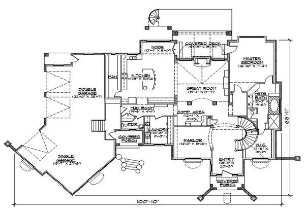 House Plan Design - European Floor Plan - Main Floor Plan #5-442