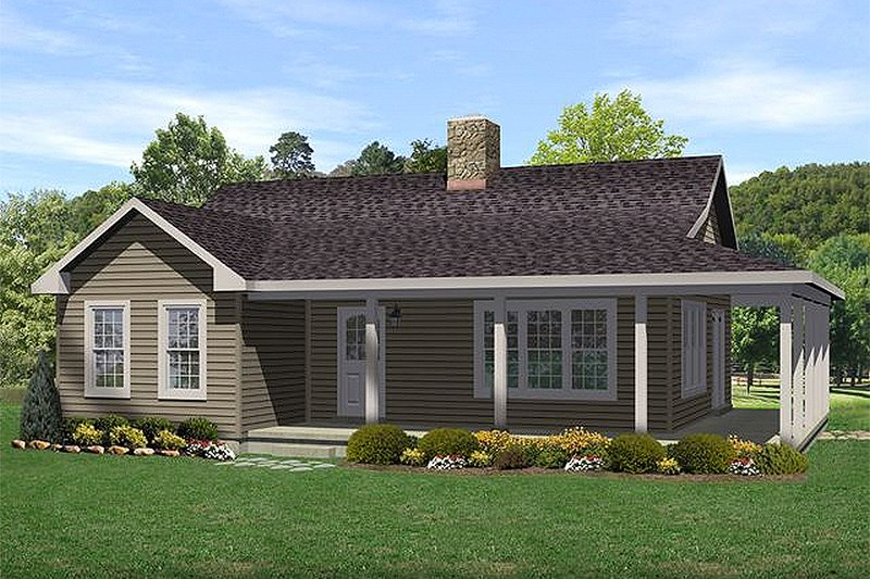 Architectural House Design - Country style home, cottage farmhouse design, front elevation