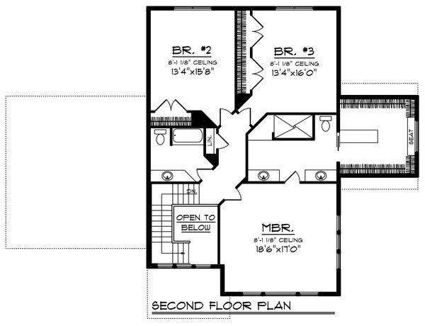 Craftsman Floor Plan - Upper Floor Plan Plan #70-1224